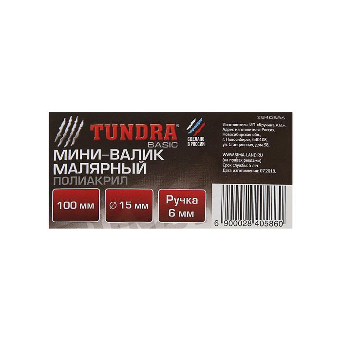 Мини-валик TUNDRA basic, полиакрил, 100 мм, ручка d=6 мм, D=15 мм, ворс 12 мм, зеленый