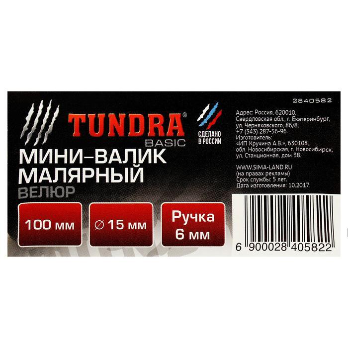 Мини-валик TUNDRA basic, велюр, 100 мм, ручка d=6 мм, D=15 мм, ворс 4 мм