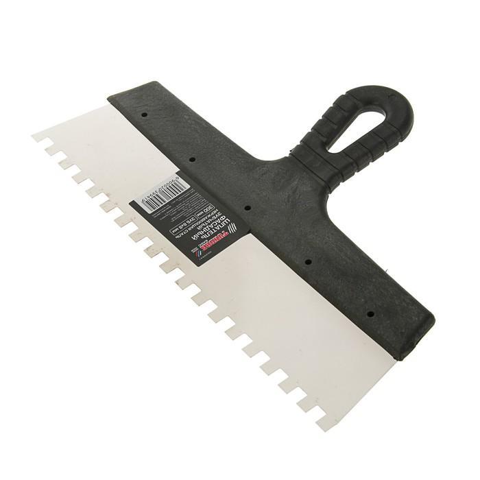 Шпатель зубчатый TUNDRA Basic, 300 мм, зуб 8х8 мм, нержавеющая сталь, ручка пластик