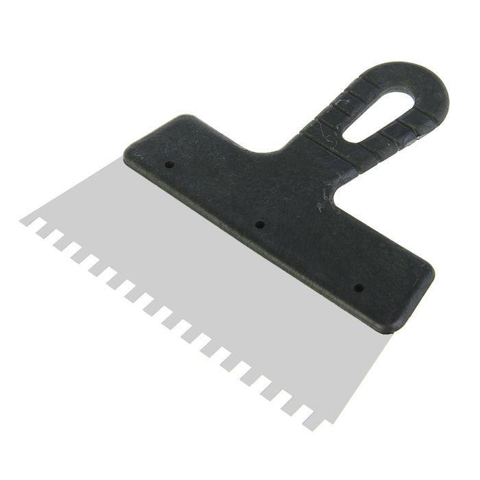 Шпатель зубчатый LOM, 200 мм, зуб 6 мм, нержавеющая сталь, ручка пластик