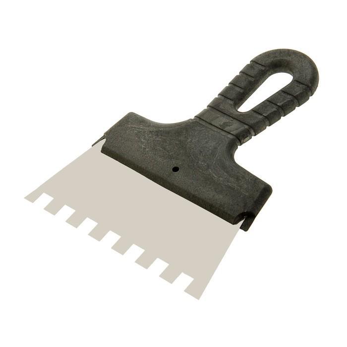 Шпатель зубчатый TUNDRA Basic, 150 мм, зуб 10х10 мм, нержавеющая сталь, ручка пластик