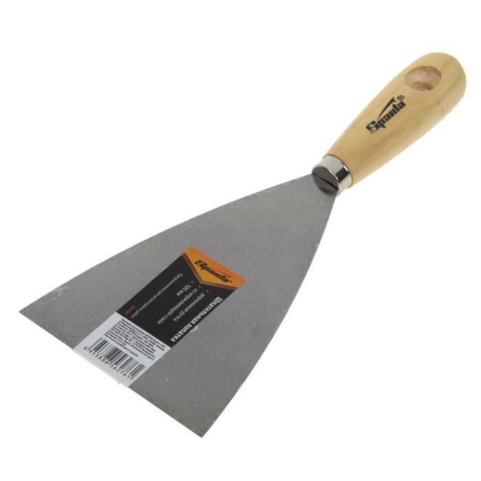 Шпатель малярный Sparta, 100 мм, нержавеющая сталь, ручка дерево