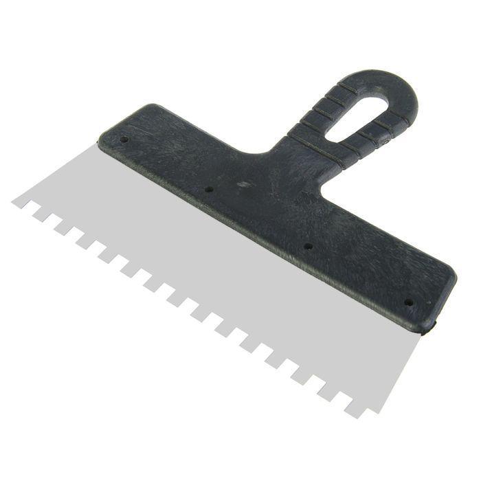 Шпатель зубчатый LOM, 250 мм, зуб 8 мм, нержавеющая сталь, ручка пластик