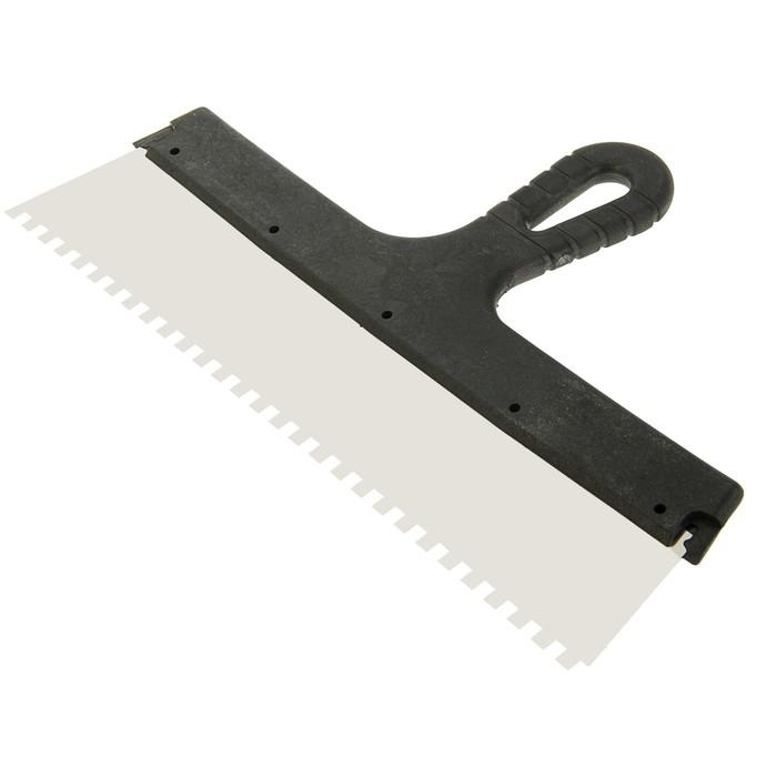 Шпатель зубчатый TUNDRA Basic, 350 мм, зуб 6х6 мм, нержавеющая сталь, ручка пластик