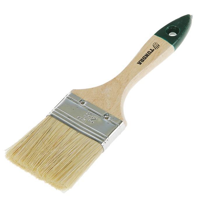 """Кисть плоская TUNDRA, натуральная щетина, деревянная ручка 2.5"""" (63 мм)"""