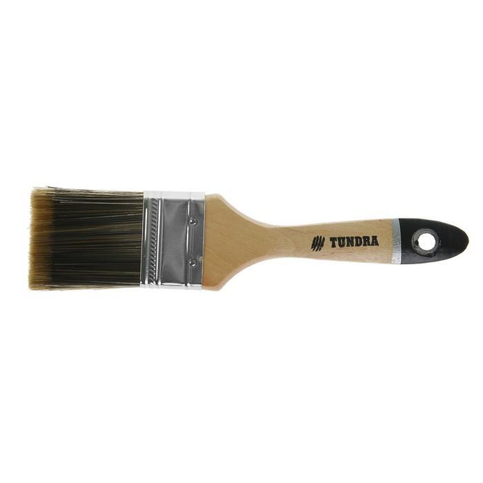 """Кисть плоская TUNDRA premium, искусственная щетина, деревянная ручка 2"""" (50 мм)"""