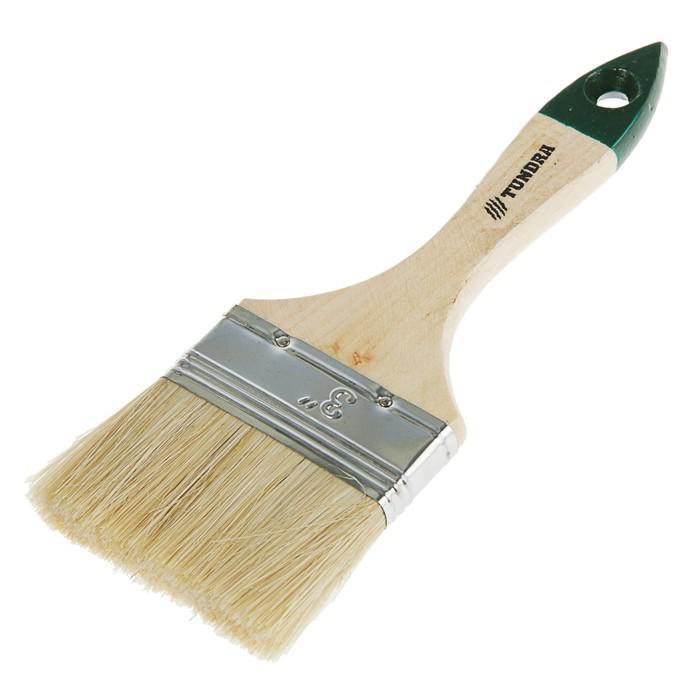 """Кисть плоская TUNDRA basic, натуральная щетина, деревянная ручка 3"""" (75 мм)"""