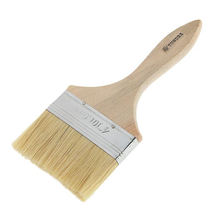 """Кисть плоская TUNDRA basic, смешанная щетина, деревянная ручка 4"""" (100 мм)"""