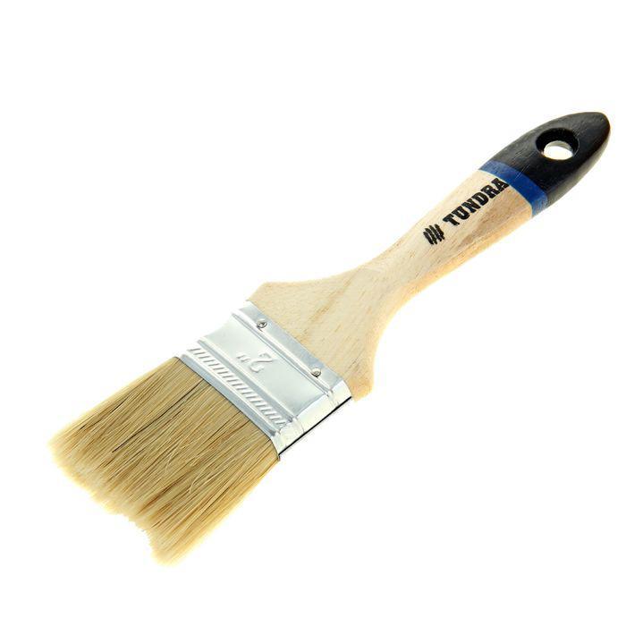 """Кисть плоская TUNDRA comfort, натуральная щетина, деревянная ручка 2"""" (50 мм)"""