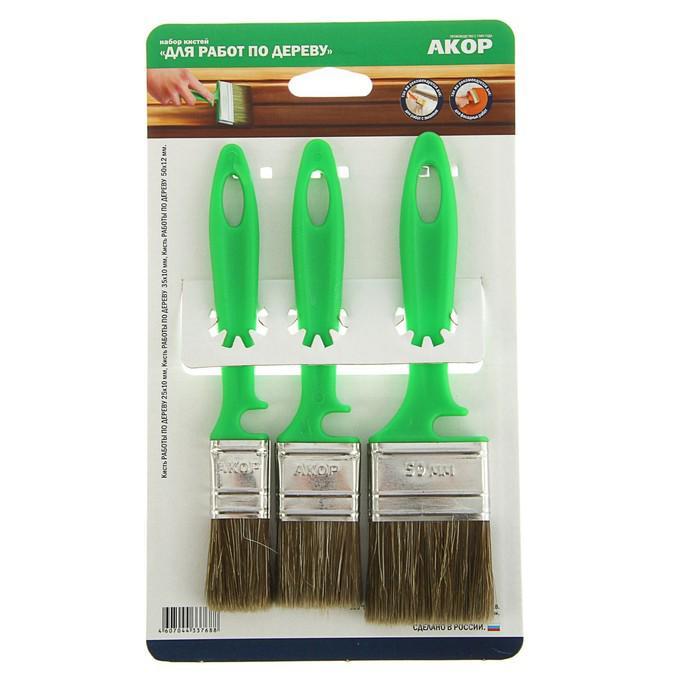 """Набор кистей """"АКОР"""", ручка пластик, смешанная щетина, для дерева, 3 шт"""