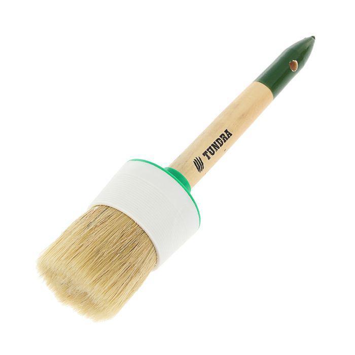 Кисть круглая TUNDRA basic натуральная щетина, деревянная ручка №18 (60 мм)