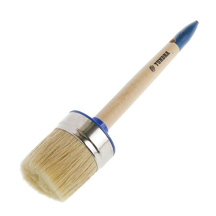 Кисть круглая TUNDRA comfort, натуральная щетина, деревянная ручка №20 (65 мм)