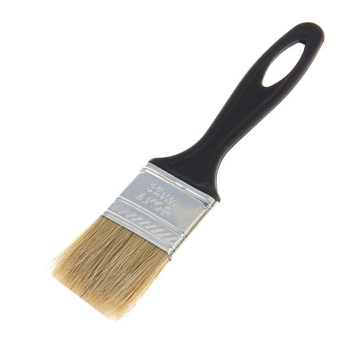 """Кисть плоская """"АКОР"""" Стандарт, 35х6 мм, ручка пластик, натуральная щетина"""
