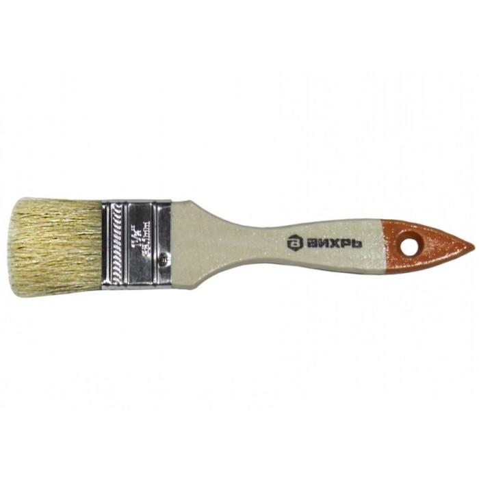 """Кисть """"Вихрь"""" Стандарт 73/3/4/2, 38 мм, 1.5"""", натуральная щетина, деревянная рукоятка"""