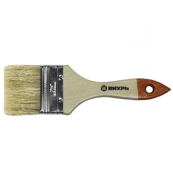 """Кисть """"Вихрь"""" Стандарт 73/3/4/4, 63 мм, 2.5"""", натуральная щетина, деревянная рукоятка"""