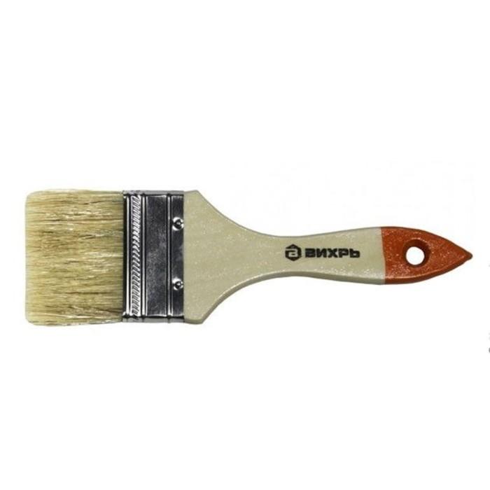 """Кисть """"Вихрь"""" Стандарт 73/3/4/5, 75 мм, 3"""", натуральная щетина, деревянная рукоятка"""