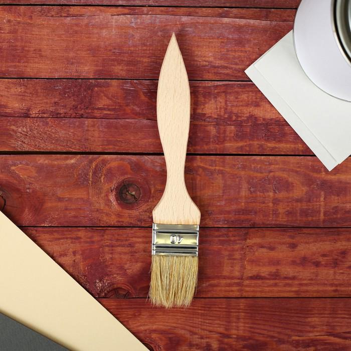 Кисть плоская, тонкая, деревянная ручка, 40 х 8 мм