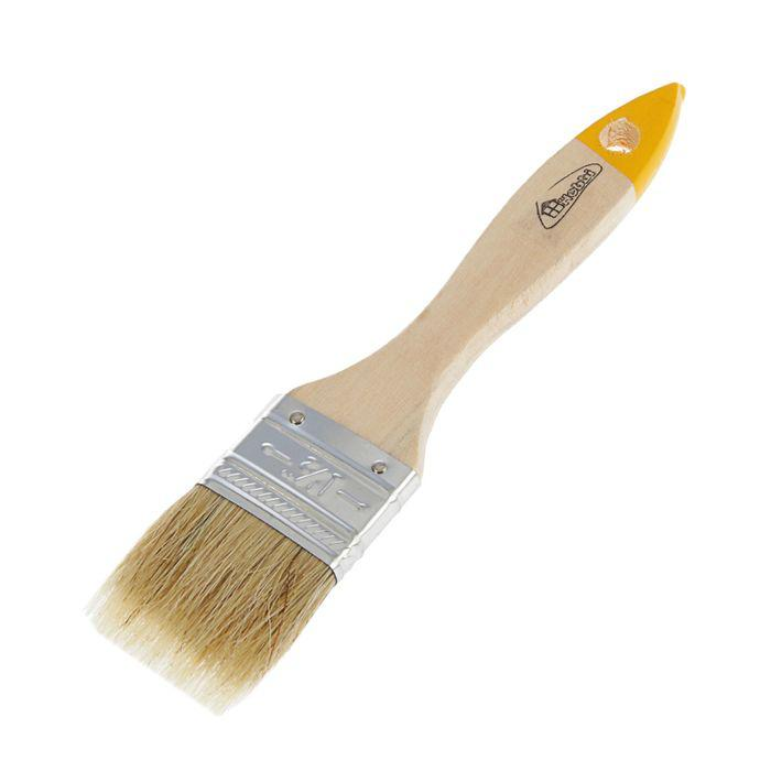 Кисть плоская Hobbi Любитель, 40 мм, ручка дерево, натуральная щетина