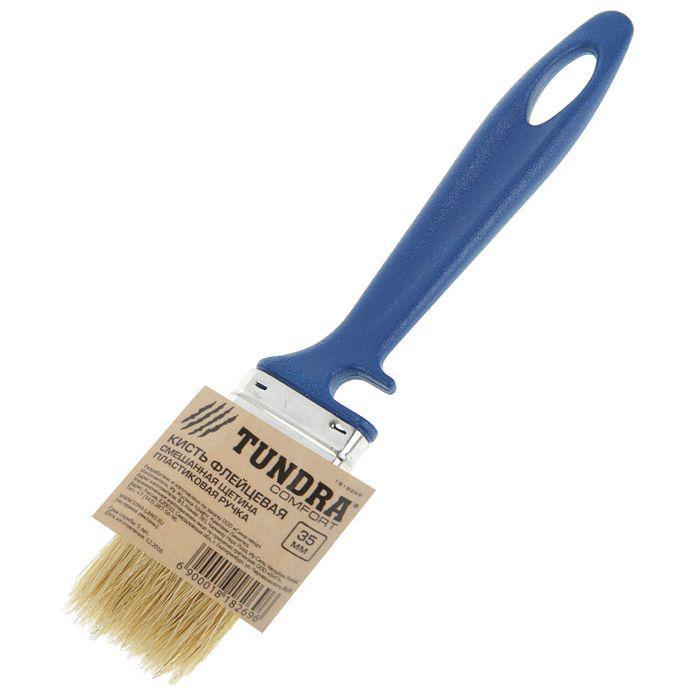 Кисть флейцевая TUNDRA comfort, смешанная щетина, пластиковая ручка, 35 мм