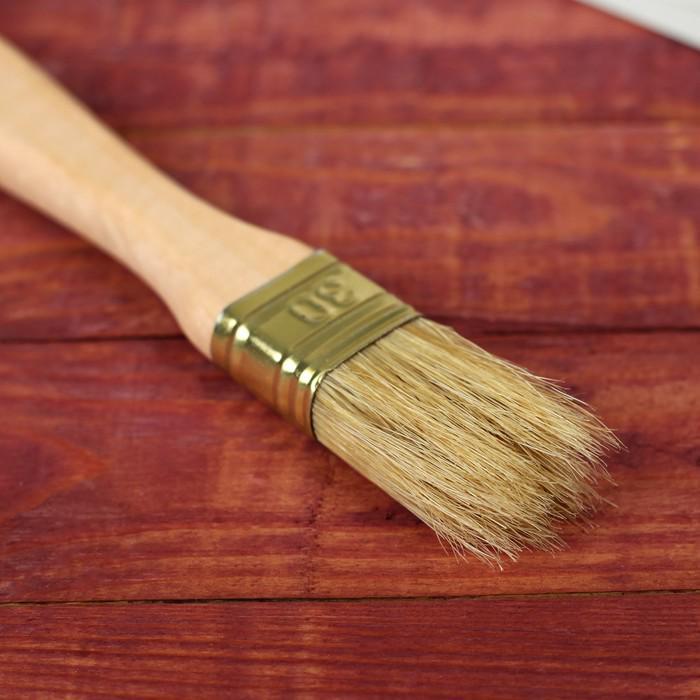 Кисть плоская, толстая, деревянная ручка, 30 х 14 мм