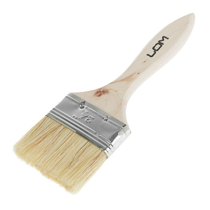 """Кисть плоская LOM, натуральная щетина, деревянная ручка 2.5"""" (63 мм)"""