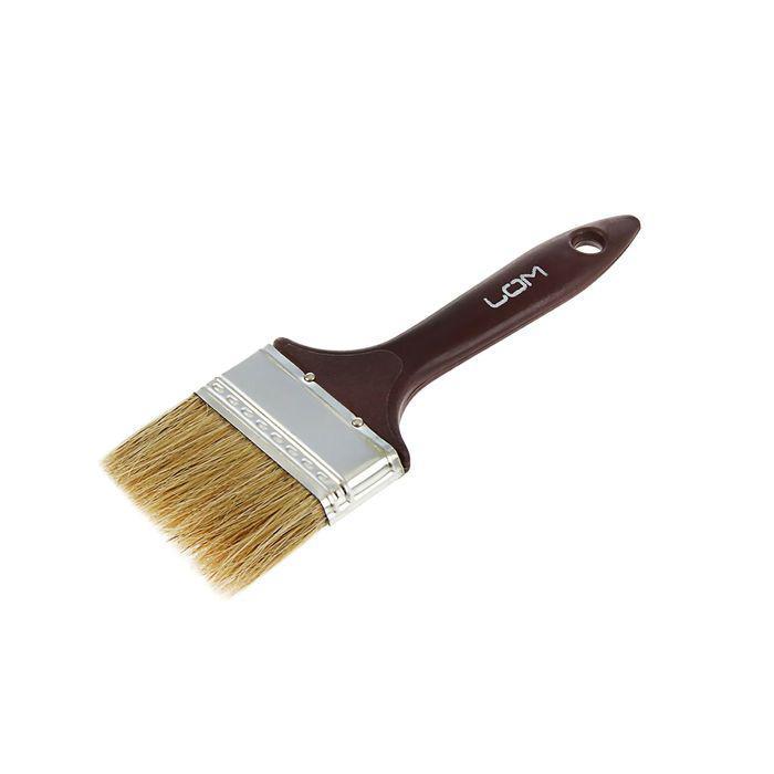 """Кисть плоская LOM, натуральная щетина, 2.5"""", 63 мм, пластиковая ручка"""