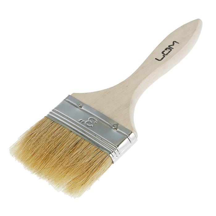 """Кисть плоская LOM, натуральная щетина, деревянная ручка 3"""" (75 мм)"""