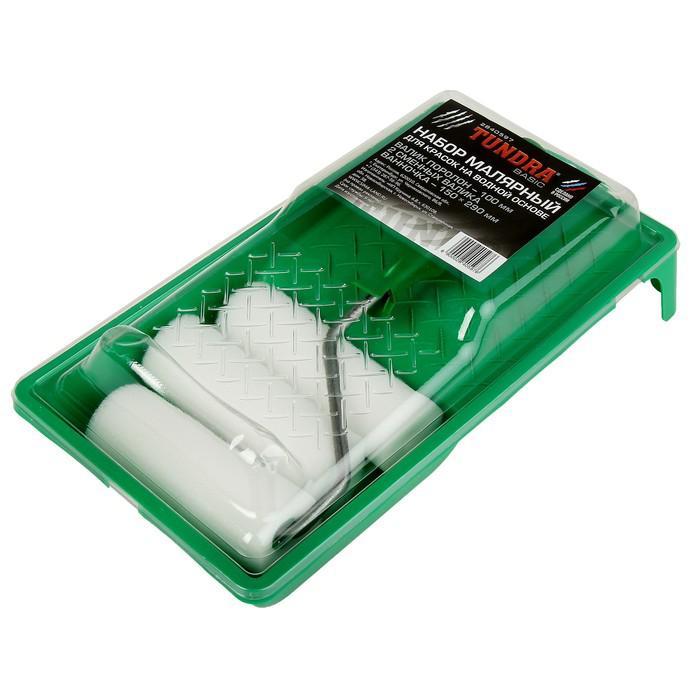 Набор TUNDRA basic, для вод. красок, валик поролон 100 мм + 2 запаски, ванночка 150х290 мм
