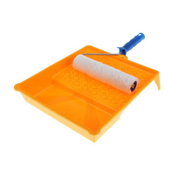 """Набор малярный """"АКОР"""" для стен, валик 240 мм, искусственный мех, ванночка 370х340 мм"""