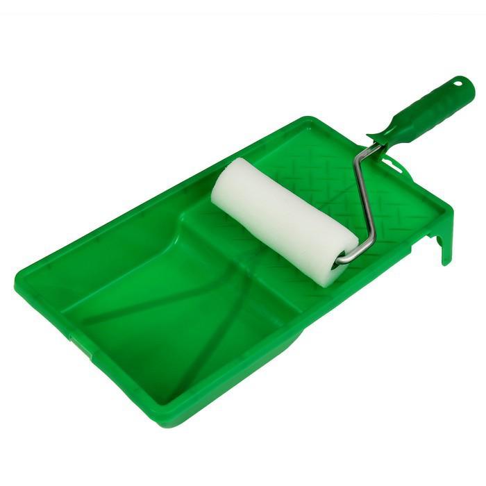 Набор TUNDRA basic, для вод. красок, валик поролон 100 мм, ванночка 150х290 мм