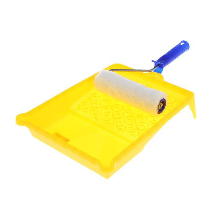 """Набор малярный """"АКОР"""" для стен, валик 180 мм, искусственный мех, ванночка 330х260 мм"""