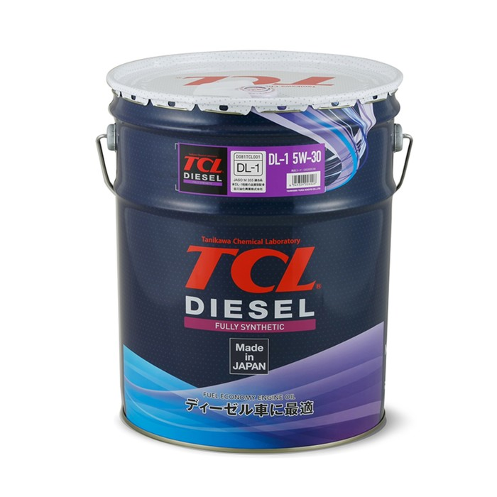 Масло для дизельных двигателей TCL Diesel, Fully Synth, DL-1, 5W30, 20л