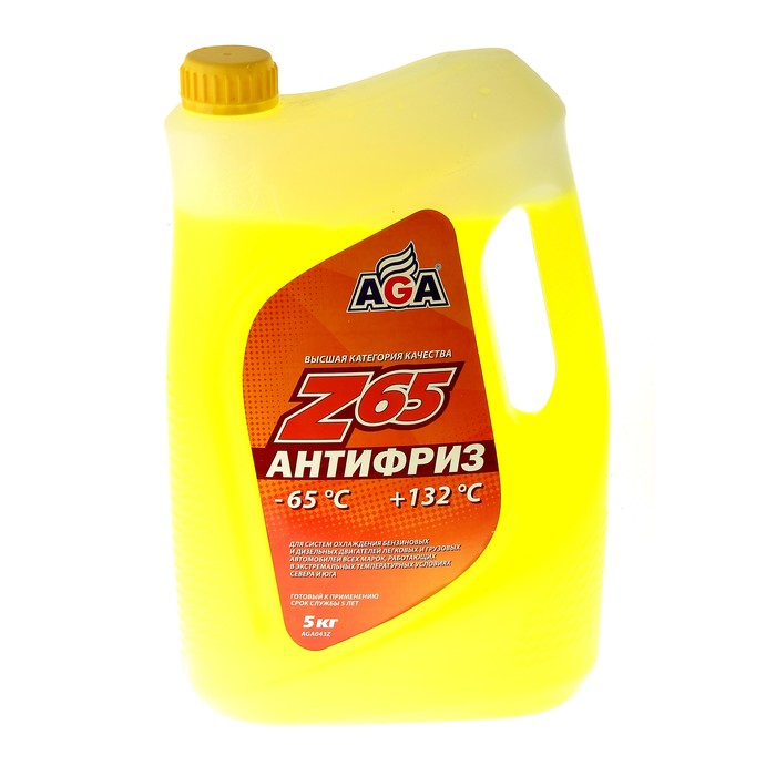 Антифриз готовый AGA -65С/+132С жёлтый, 5 л