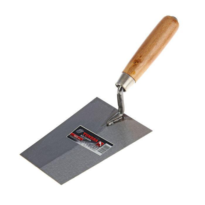 """Кельма отделочника TUNDRA, """"трапеция"""", деревянная рукоятка, 150 мм"""