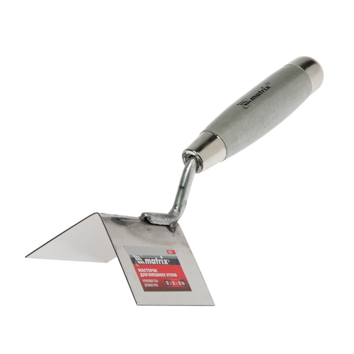 Кельма угловая MATRIX, внешняя, 80х60х60 мм, нерж.сталь, ручка дерево