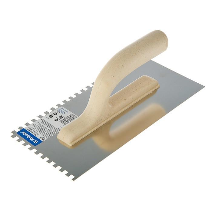 Гладилка Kubala ECO LINE, 130х270 мм, зуб 6х6 мм, нержавеющая сталь, ручка пластик
