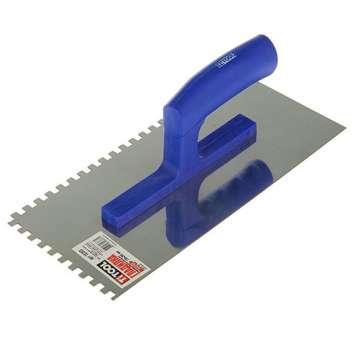 Гладилка TiTOOL Master, 130х280 мм, зуб 6х6 мм, нержавеющая сталь, ручка пластик