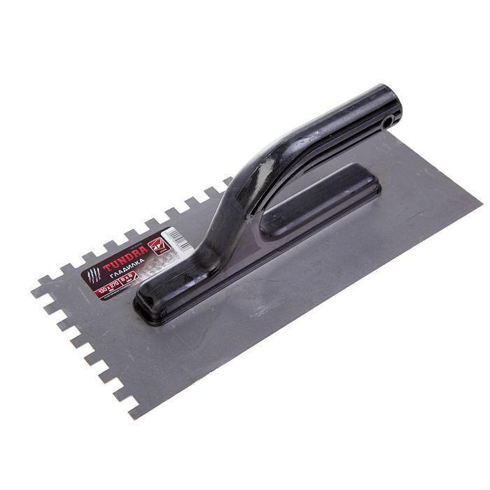 Гладилка TUNDRA, стальная, пластиковая рукоятка, зуб 8 х 8 мм, 130 х 270 мм