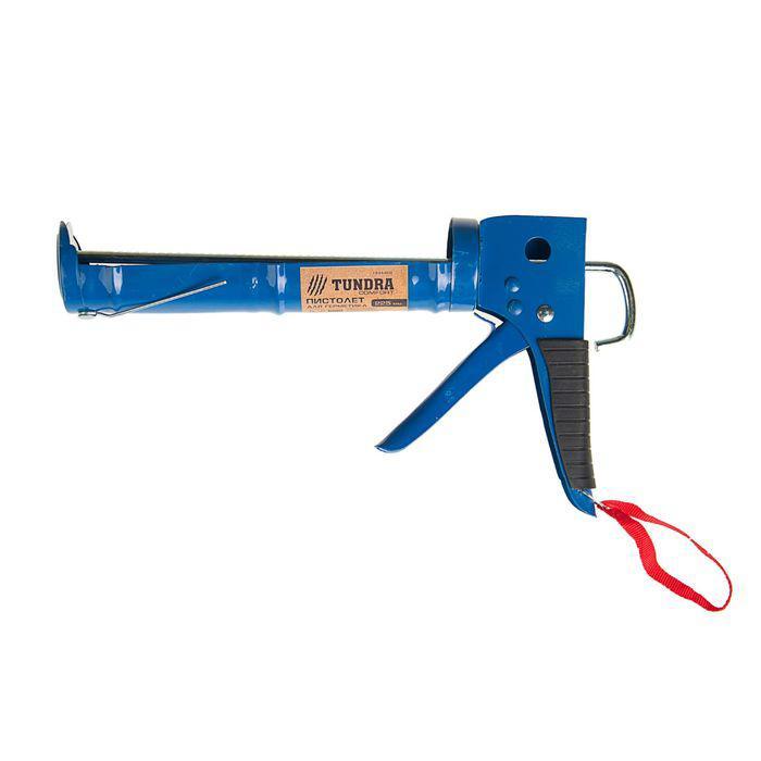 Пистолет для герметика TUNDRA comfort, полуоткрытый, зубчатый шток, 225 мм