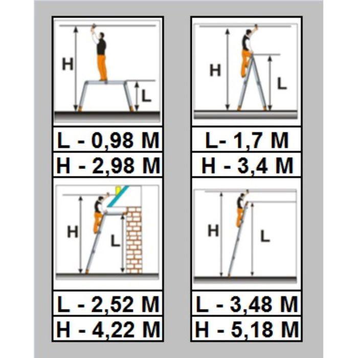 Лестница трансформер Halta  4х3 с помостом