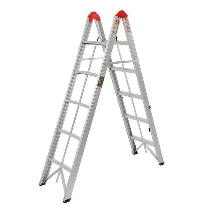 Лестница двухсекционная TUNDRA comfort, 2х5 ступеней, алюминиевая, складная