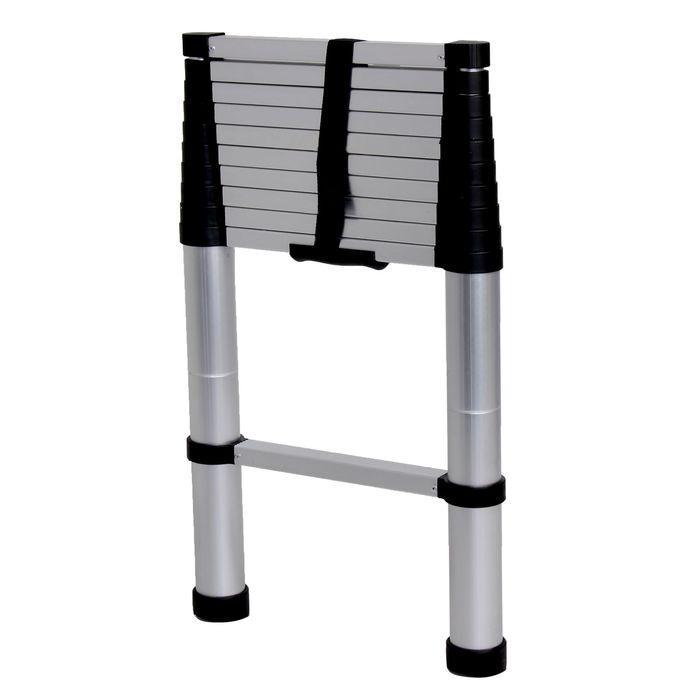 Лестница телескопическая TUNDRA premium, 11 ступеней, 3.2 м, алюминиевая, автомат