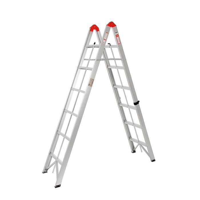 Лестница двухсекционная TUNDRA comfort, 2х6 ступеней, алюминиевая, складная