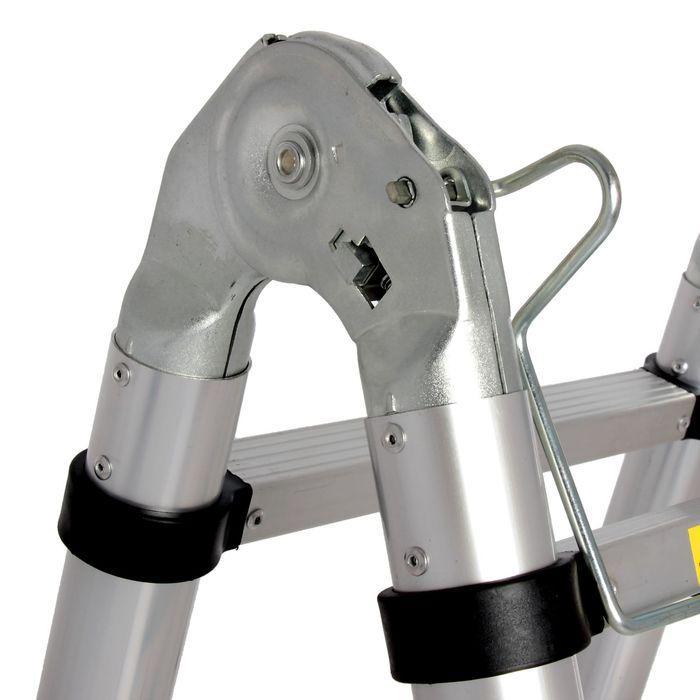 Лестница телескопическая TUNDRA premium, 1.6 х 1.6 м, алюминиевая, шарнирная