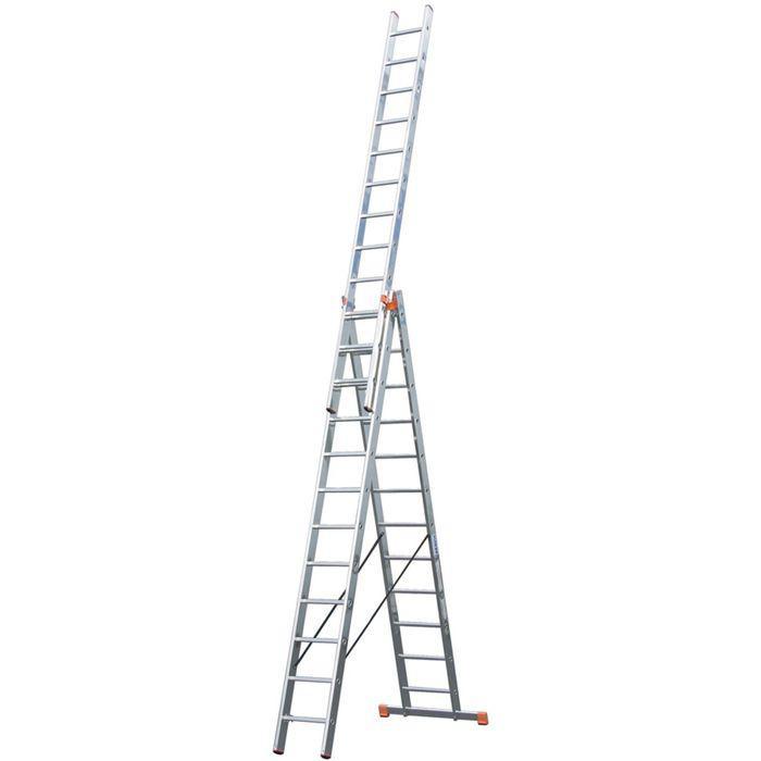Лестница KRAUSE MONTO TRIBILO, трехсекционная, с траверсой, 14 ступеней