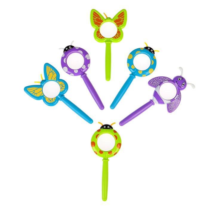 Лупа 3х d=3.5 см, детская, в форме насекомых, компас, длинная ручка, микс цвета и насекомых