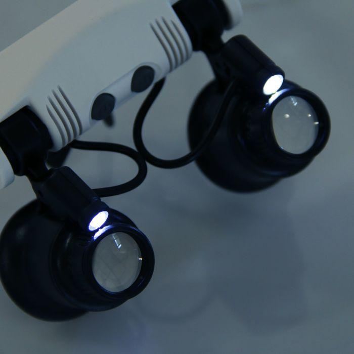 Лупа 10-25х, налобная, бинокулярная, с подсветкой, 6 линз в комп-те, 3 ААА, 19х16х7 см