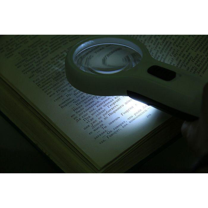 Лупа 3х, d=6 см TH-608, с прямой ручкой, с подсветкой, белая, 8х4х19 см