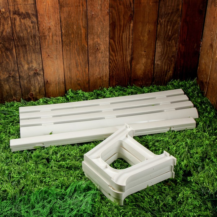 Скамья садовая без спинки «Люкс», 120 × 40 × 42 см, двухместная, белая