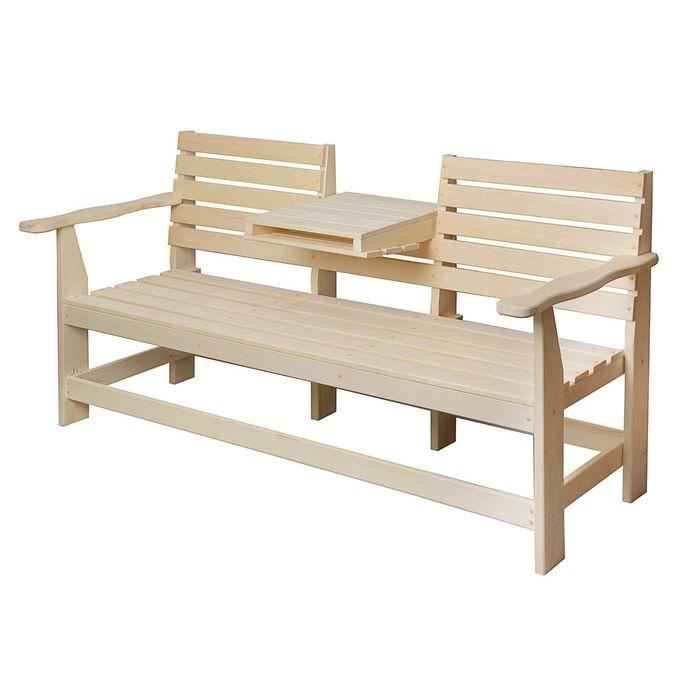 Скамейка с выдвижным столиком, липа 160х60х90см ПРОМО